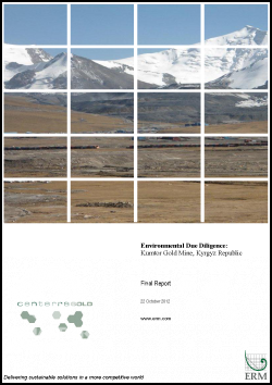 Environmental Due Diligence: Kumtor Gold Mine