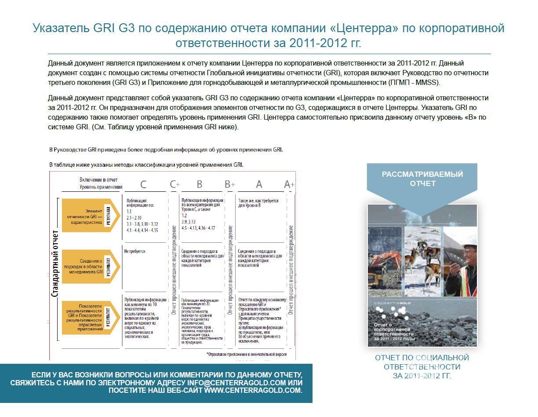 Содержание по указателям GRI G3